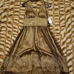 Adrianna Papell gold brown halter dress